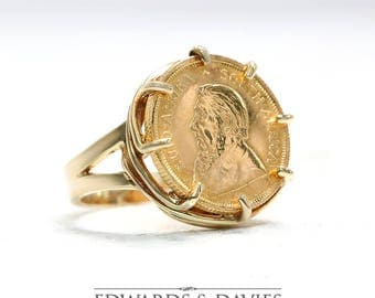 1985 Krugerrand Gold Coin Ring | 1985 South Africa Gold Coin Ring | Coin Ring | Yellow Gold Coin Ring | Antique Jewelry | Antique Jewellery