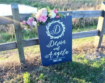 Wood Wedding Welcome Sign - Rustic Wood Wedding Signs - Welcome To Our Wedding Sign - Navy Blue Wedding Signs - Woodland Wedding