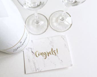 Marble Congratulations Card with Gold Foil Lettering