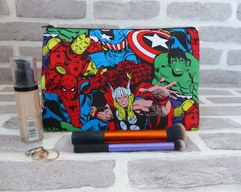 Marvel superheroes large makeup bag, gift for her, superhero makeup bag, Travel bag, Christmas gift. stocking filler, birthday gift for her
