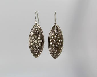 Item 4233 - Beautifully Handcrafted Nature Inspired Flower Textured Layered Extremely Lightweight Fine and Sterling Silver Earrings