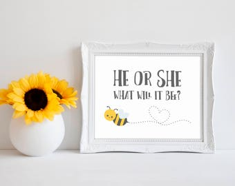 "He Or She What Will It Bee 8""x10"" Bee Baby Shower Decorations 