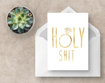 Engagement Card | Holy Shit | Engagements | Greeting Cards | Wedding Card | Celebration Card | Funny Cards | Swear Words