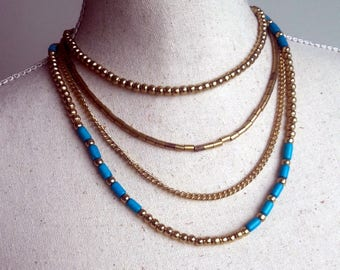 Boho golden beaded strand collier, Turquoise and golden beads  necklace