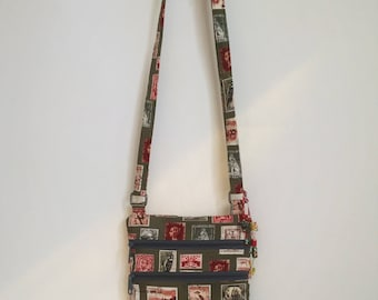 Small Cross Body Purse Stamps from Around the World Cross Body Boho World Traveller  Shoulder Bag