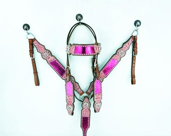 Hand Made Metallic Pink Gator Headstall Leather Western Horse Trail Bridle Breast Collar Plate Barrel Racer Cowgirl Bling Tack Set