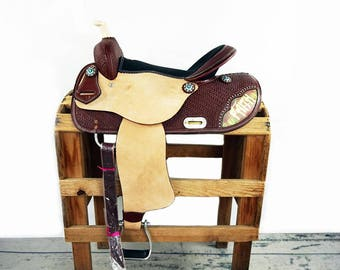 "16"" Faith Western Horse Handmade Pleasure Trail Barrel Racer Racing leather Saddle One Of A Kind"
