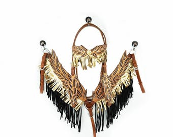 Handmade Angel Wings 2 Tone Gold & Black Fringe Leather Hand Painted Headstall Western Horse Trail Bridle Breast Collar