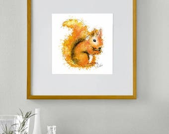 Framed squirrel print // squirrel painting // squirrel art // red squirrel print // British wildlife art // wildlife decor // woodland decor