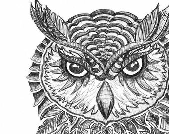 Black and White Art Print- Black and White Illustration- 'Owl' Illustration- Hand Drawn Reproductions- 8.5 x 11 Print- Art Print