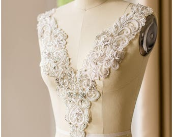 Made to order!!! HANDMADE rhinestone embellishment - Rhinestone Appliqué - Beaded Necklace - Anna Campbell Neckline - Couture embellished