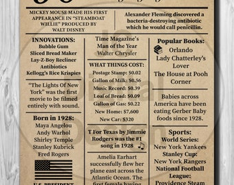 """90th Birthday NEWSPAPER Poster, 1928 Facts 16X20"""", 8X10"""" INSTANT DOWNLOAD"""