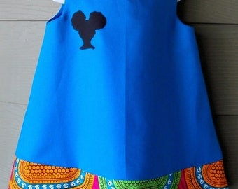 Blue Jumper with African Wax Abstract Print Trim