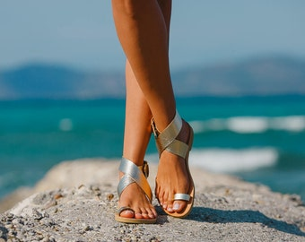 Greek Leather sandals,Wedding,Sandals Greece,Handmade women shoes,Gold leather with shapes,Summer sandals,Triskelion,DIONE,