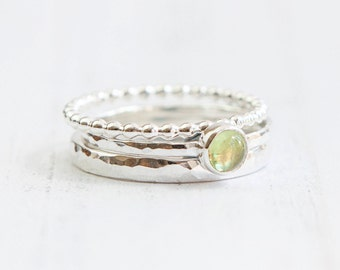 Peridot sterling silver stacking ring set, August birthstone ring, Peridot Jewellery, Green gemstone,
