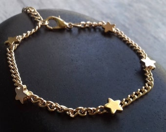 Gold Star Bracelet | Womens Girls Stars Sun Moon Charm Simple Dainty Minimalist Bangle Jewelry Jewellery Birthday Gift for Her