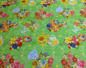 Flowers and Flower Pots Cotton Fabric