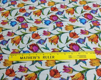 Butterflies are Free-Tulips on White Cotton Fabric by Ro Gregg for Paintbrush Studios