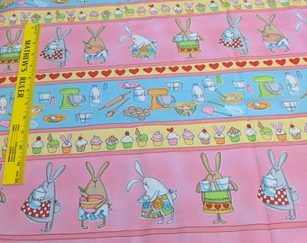 Baking Bunnies and Cupcakes Cotton Fabric from Timeless Treasures