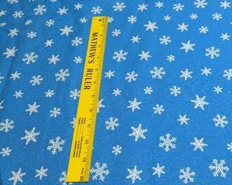 Ho! Ho! Ho!-Snowflakes on Blue Cotton Fabric Designed by Deb Strain from Moda Fabrics