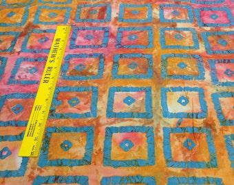 Orange and Blue Squares Cotton Batik Fabric