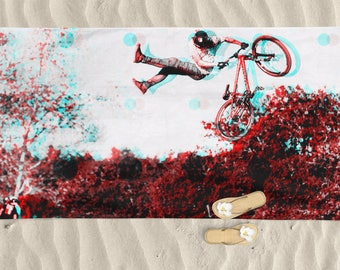 Beach Towel, Men beach towel, bike art, mountain bike art, Cycling Art, 3D Art gift, Man gift, Cycling Gift, Beach Gift, Trek Bike, BMX Bike