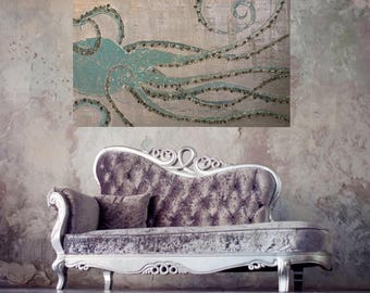 Original octopus tentacle painting impasto heavy texture art greens gold artwork 48x30