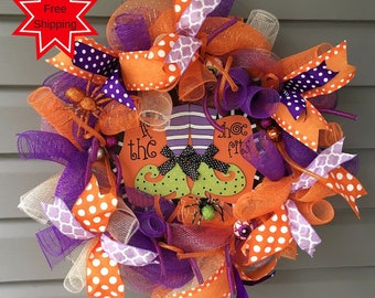Halloween Wreath, Halloween Deco Mesh Wreath for Front Door, Halloween Wreath, Halloween Decor, Spider Wreath, Glitter Wreath, Fun Halloween