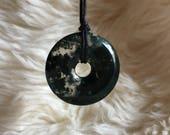 Moss Agate Pendant, Moss Agate Donut Pendant, Crystal Pendant, Crystal Jewelry, Moss Agate Necklace, Agate Pendant, Moss Agate