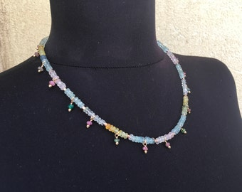 Rose quartz necklace, Aquamarine necklace, Colorכful Tourmaline necklace, Goldfilled necklace, October Birthstone, Beaded necklace,