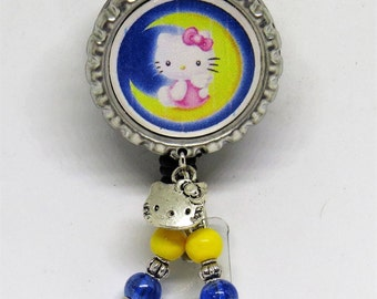 Hello Kitty retractable ID badge holder with alligator clip. Your choice