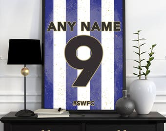Sheffield Wednesday F.C. Home Shirt Print - Personalised Football Shirt Poster -  ANY Name & ANY Number A4 - A3