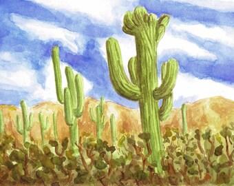 Cacti ( Original Watercolor Painting )