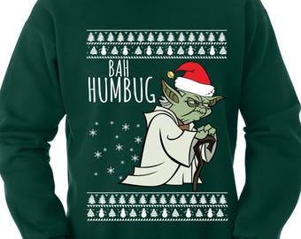 Yoda Sweater Ugly Christmas Sweater Bah Humbug Sweater Star Wars Sweater Star Wars Hoodie Funny Yoda Shirt Funny Christmas Sweater TH381