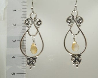92.5 Sterling Silver Oxidize Citrine Earrings