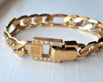 10% Discount Givenchy Gold Tone Link Bracelet Rhinestones Designers Jewelry Ladies Present