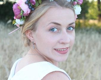 Volume floral crown Boho wedding wreath Bridal flower crown Peony flower crown Bridal floral headband Wedding hair wreath floral crown