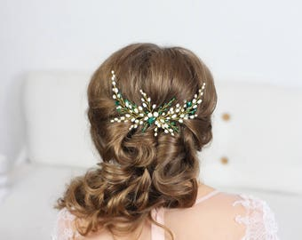Winter bridal hair comb pearl Green Bridal Headpiece Wedding Hair Piece Emerald Crystal hair comb Headpiece Crystal hair piece pearl