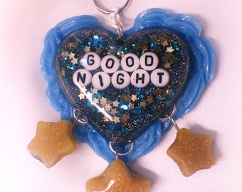 Goodnight Space Heart Resin Key Chain