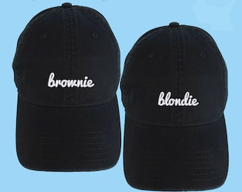 SET OF Blondie and Brownie Dad Hats Embroidered Baseball Black Cap Low Profile Custom Strap Back Unisex Adjustable Cotton Baseball Hat