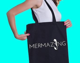 Mermazing tote bag, Free shipping, Mermaid bag, Tote bag, Cotton tote bag, Fun tote bag, Cool tote, Beach tote bag