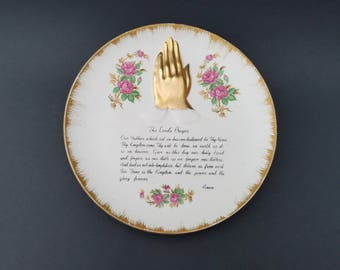 Vintage Lord's Prayer Plate ~ Decorative Wall Plate ~ Enesco