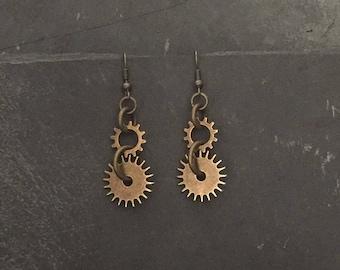 Bronze Gear Earrings