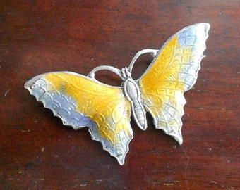 Large Enamelled Silver Butterfly Brooch, Edwardian, Large Yellow & Purple with C Clasp