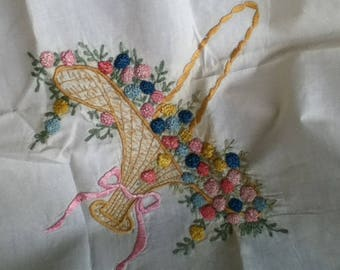 Tablecloth or Doiley with Basket Embroidery
