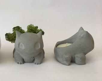 Concrete pokemon bulbasaur home decor statue sculpture french planter airplant succulent holder pot airplant candle cactus