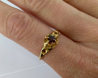Vintage (circa 1910) 14k Garnet Engagement Ring, Sz 7.5