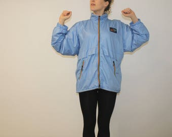Vintage sports jacket blue jacket Workout Windbreaker Sports Anorak Womens XXL Windbreaker Mens XL Overized Rainbow Colorful Hoodie