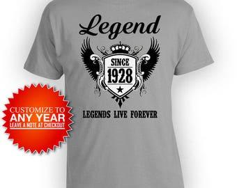 Personalized Birthday T Shirt 90th Birthday Gifts For Him Custom Birthday Shirt Bday TShirt B Day Legend Since 1928 Mens Ladies Tee - BG502