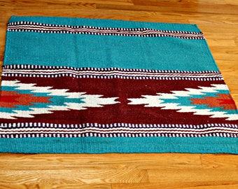 Vintage Rug 3x3 Feet Cyan Indian Tribal Southwestern Motifs Handwoven Kilim  Kelim Flat Weave Rug,